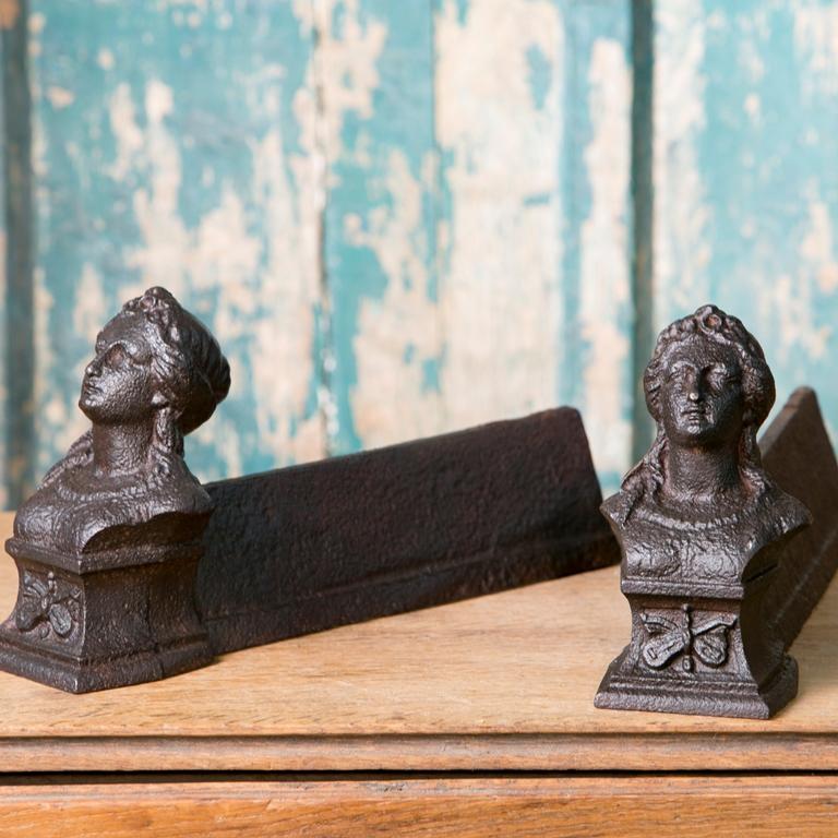Pair of Cast Iron Antique FiguralAndirons