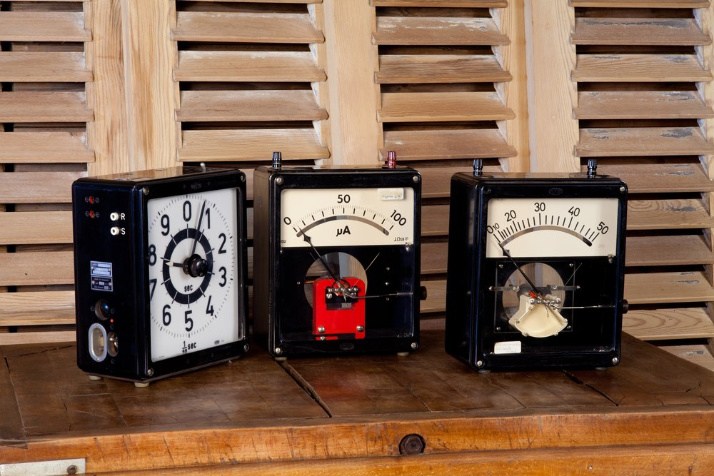 Collection of VintageGerman Metal Timers and Voltimeters