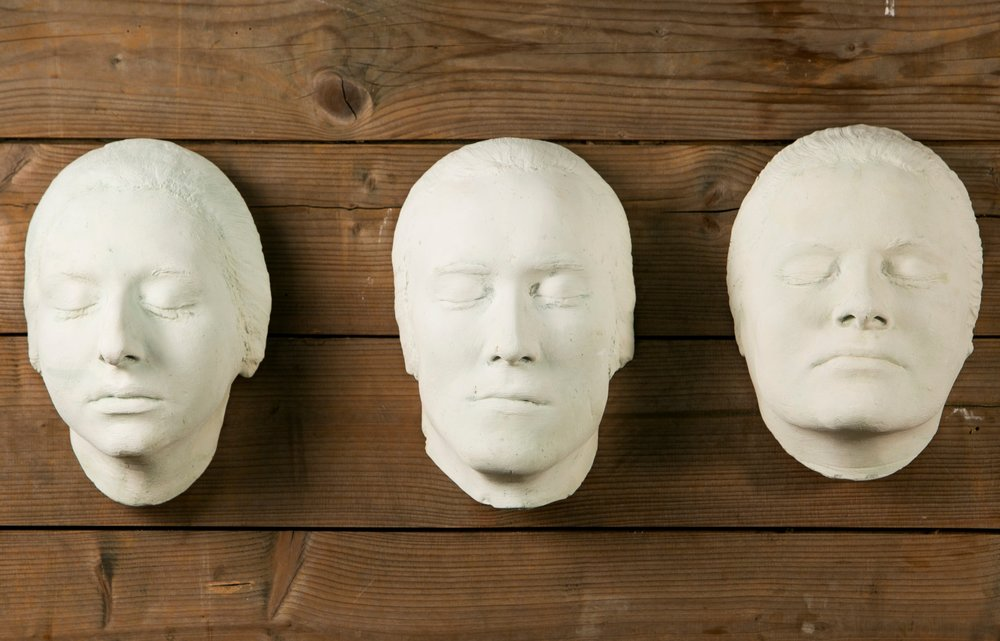 Collection of 12 Rare Plaster Masks of Human Faces