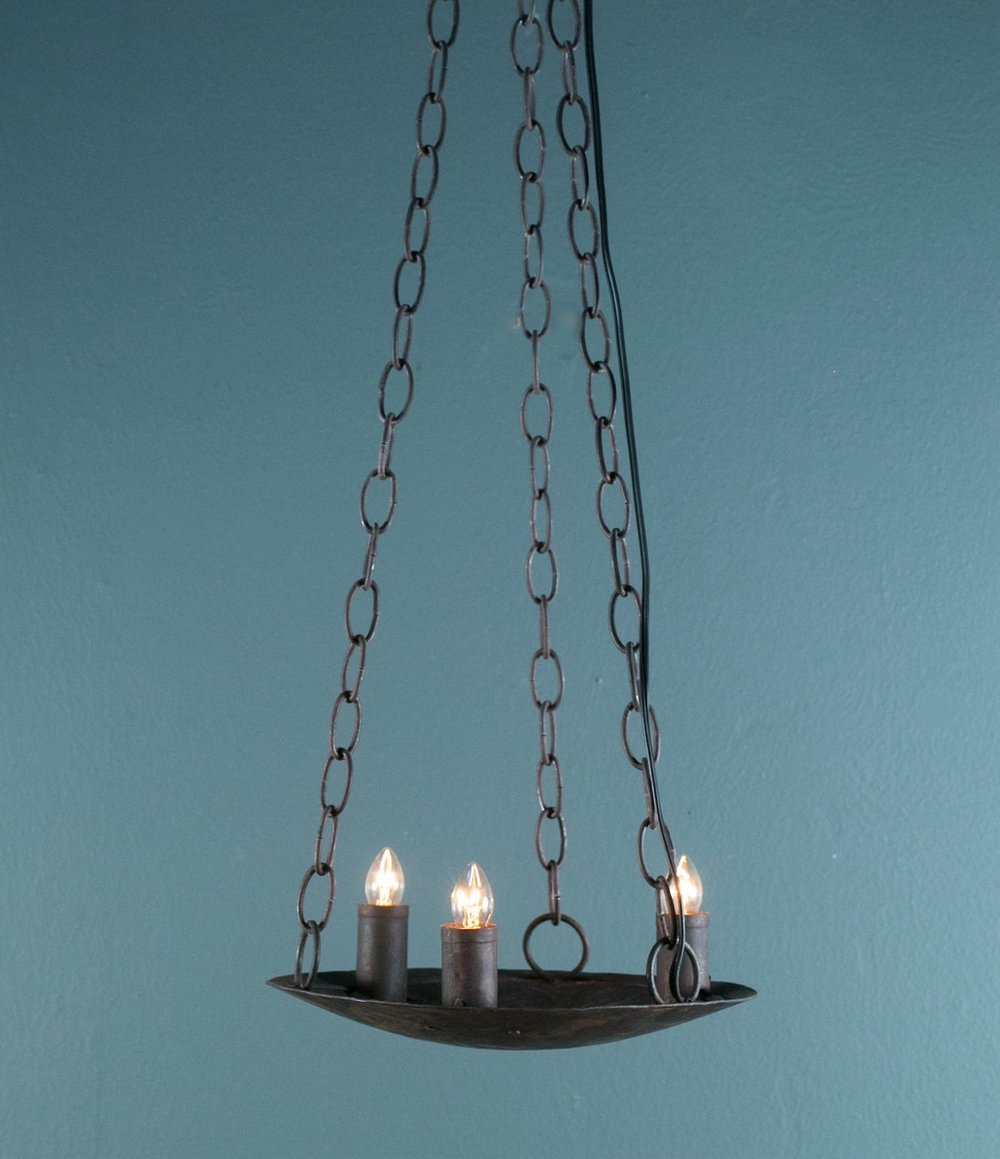 Hand-Forged American Iron Custom Pendant with Three Sockets