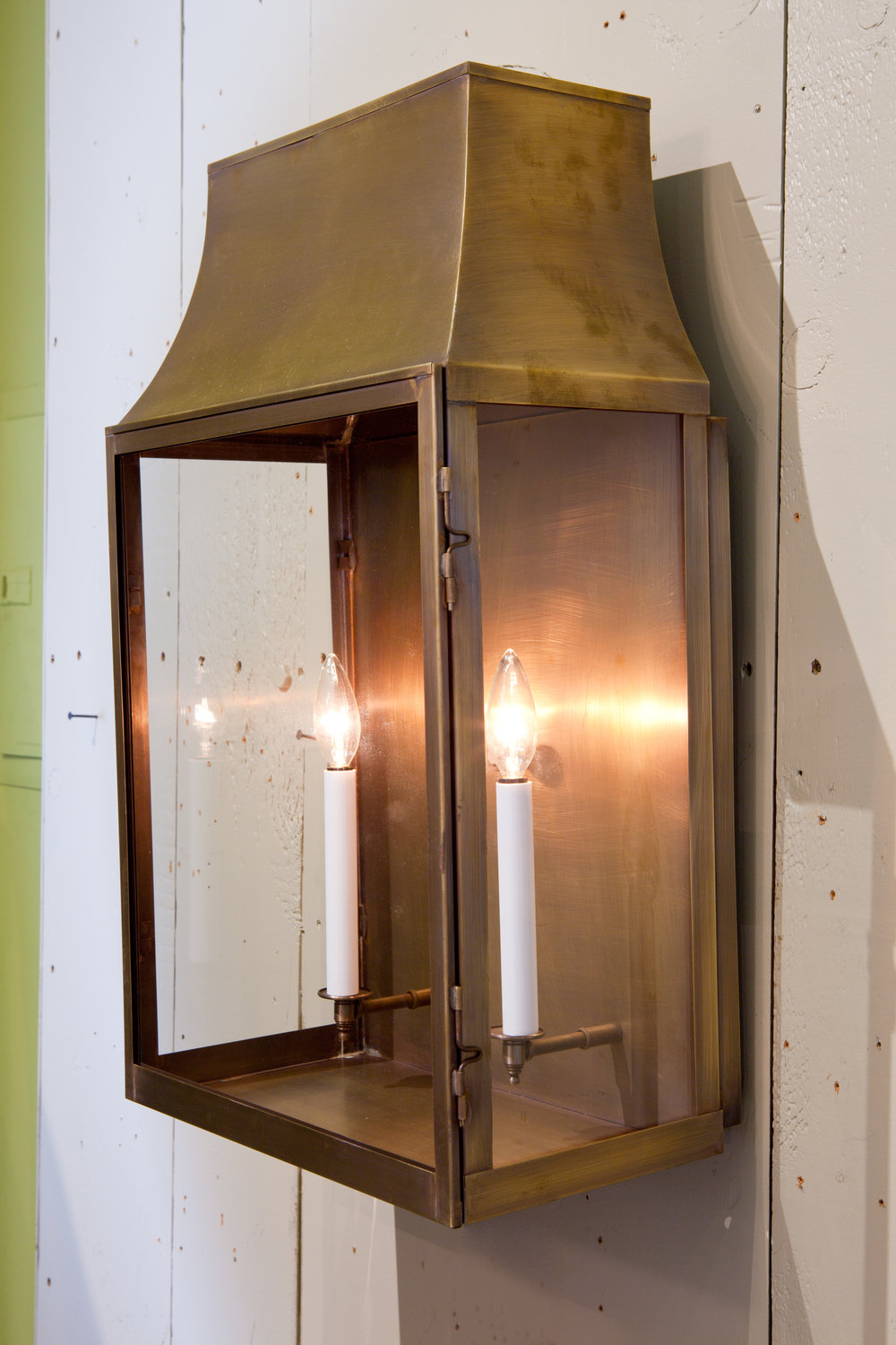 "Custom Indoor/ Outdoor Brass ""Guadalupe"" Wall Lantern"