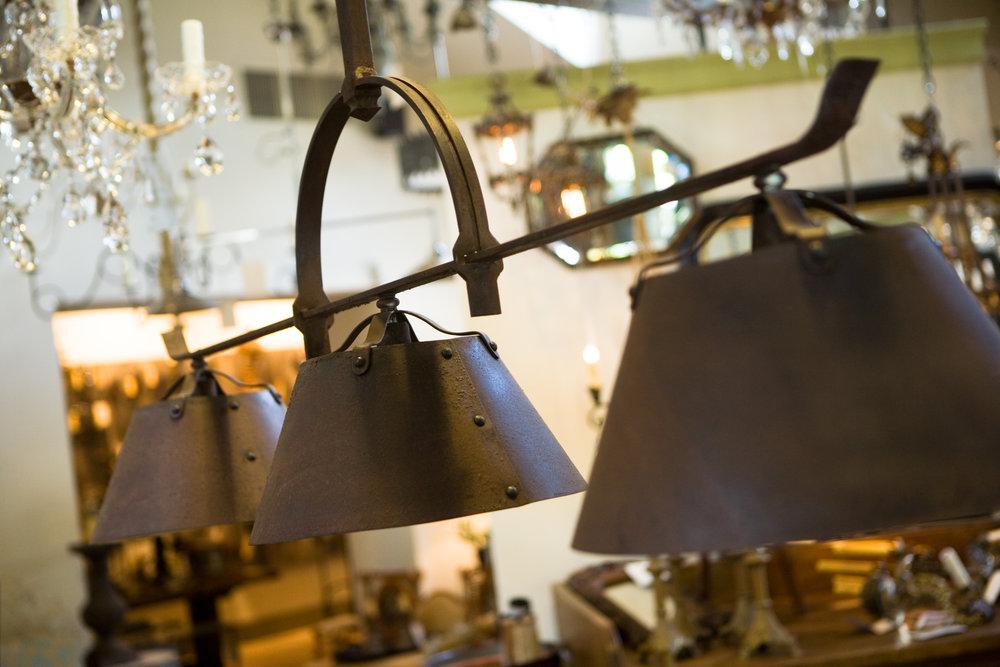 "Handmade, Custom Three-Light Hanging ""Lucas"" Fixture"