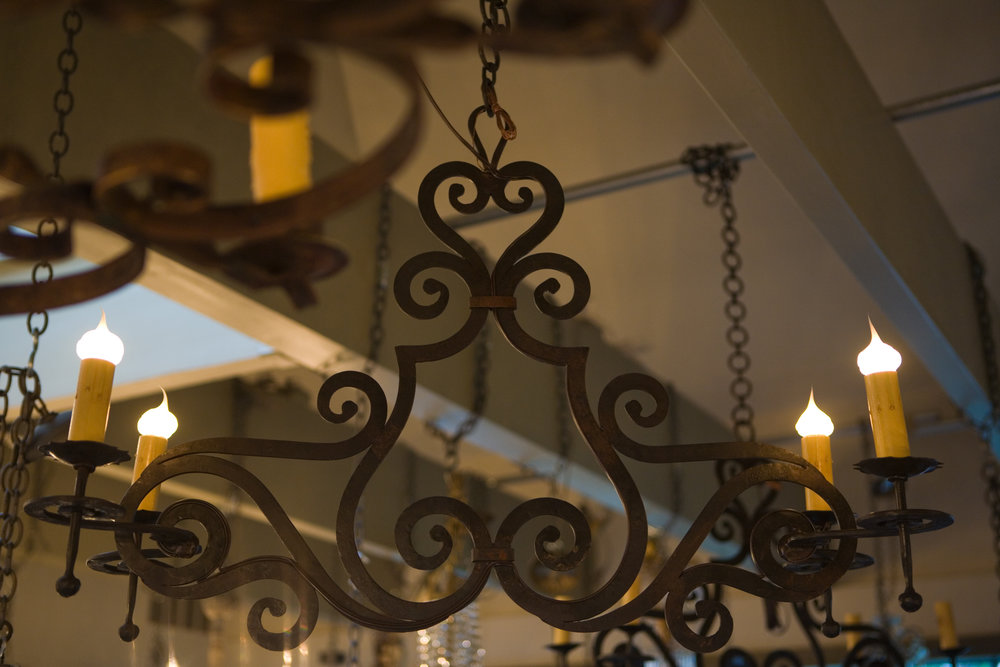 "Custom, Hand-Forged Iron Four-Light ""Hamilton"" Fixture"