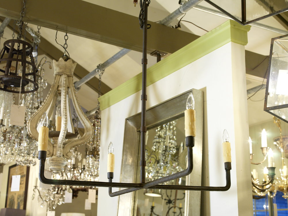 "Hand-wrought, Custom ""Guernesy"" Iron Chandelier"