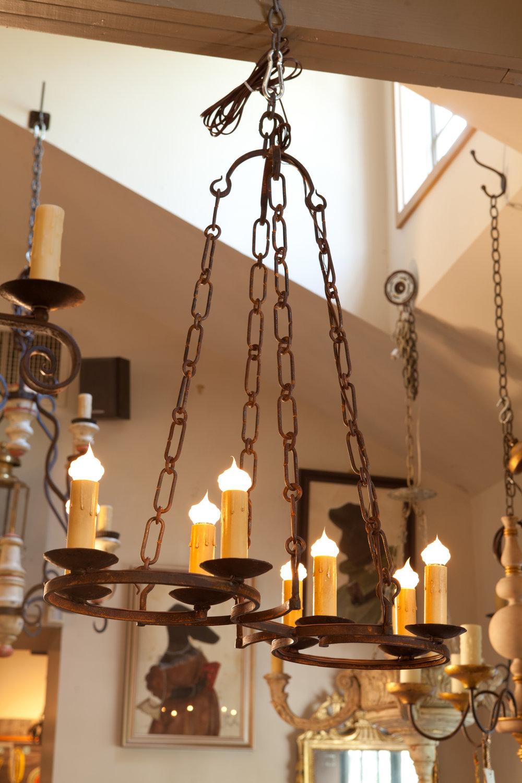 "Custom iron light ""Cuyahoga"" chandelier with 8 sockets"