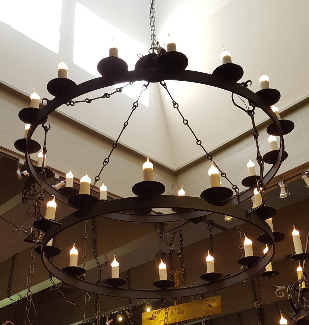 Oversized, Hand-Forged Iron Double Ring Chandelier