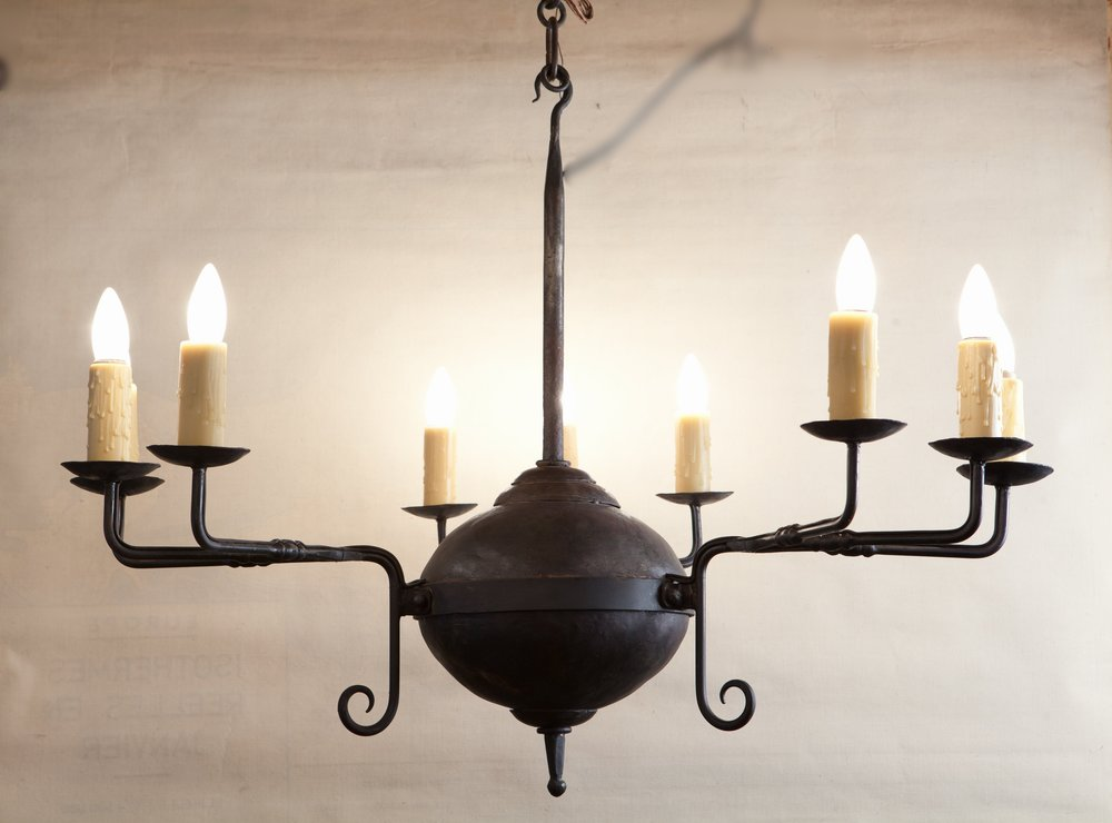 "Hand-Forged Iron ""Mercer"" Chandelier with Nine Lights"