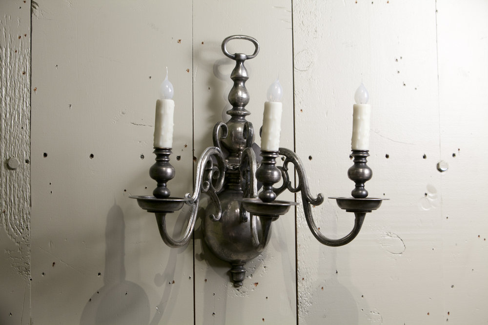 Dutch-Style Nickel on Brass Sconce with Three Arms, circa 1920