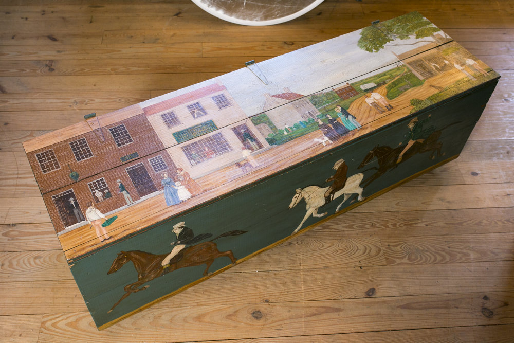 Antique Blanket Chest on Casters, Hand-Painted by Lew Hudnall