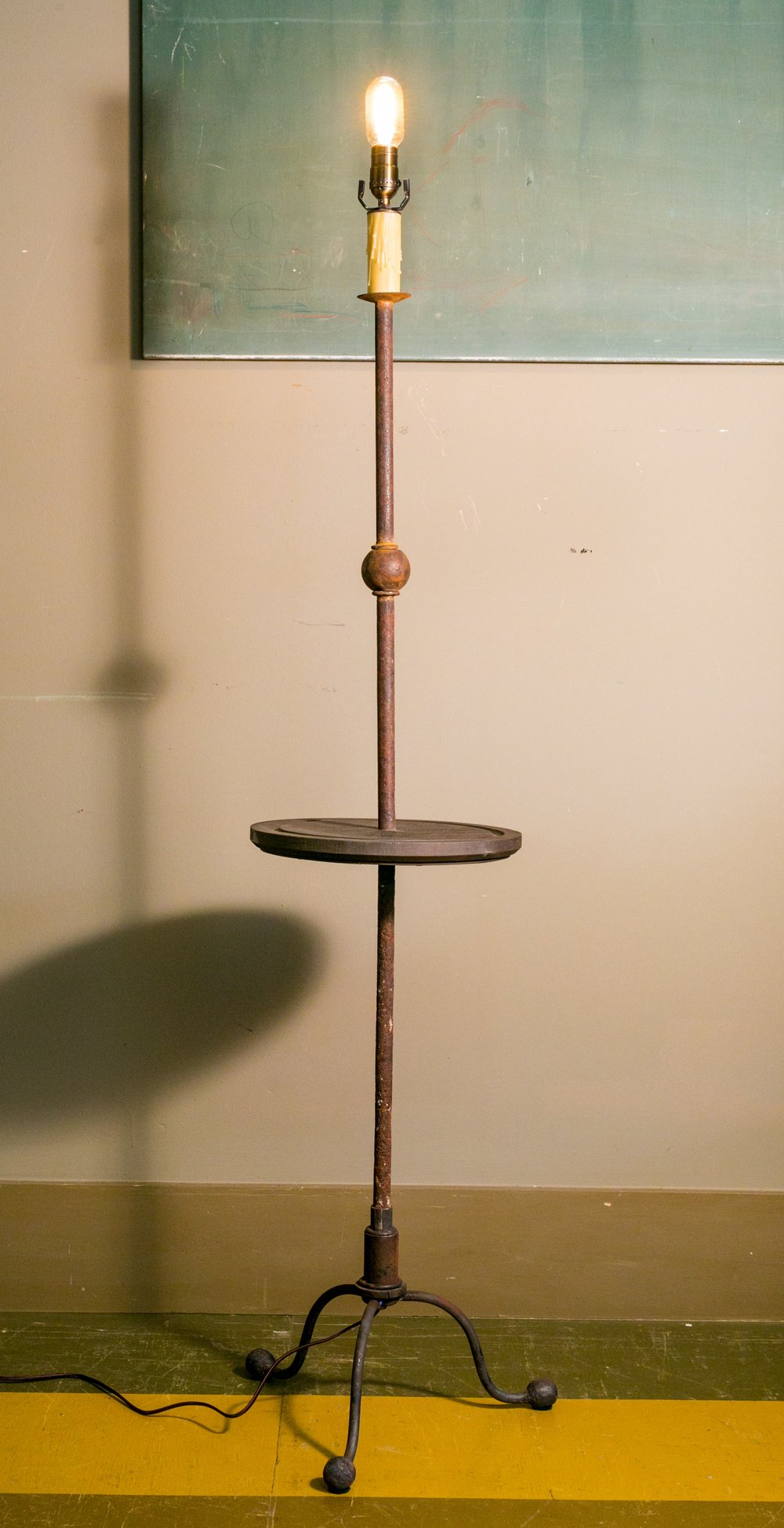 Hand-Forged Iron Floor Lamp with Wood Table Center