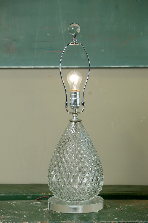 Pineapple Cut Glass Table Lamp from Austria