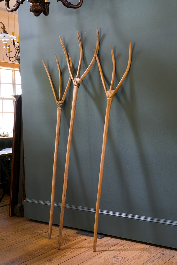 Set of Three Wooden Pitchforks from France, circa 1940