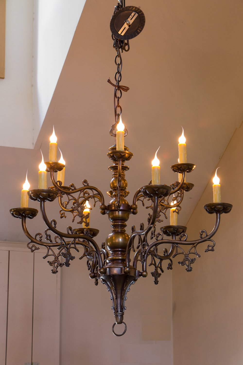 Antique Bronze Gothic Revival Chandelier