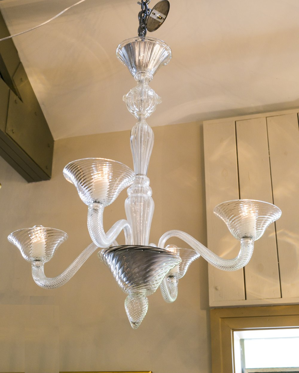 Vintage Clear Swirl Murano Glass Chandelier