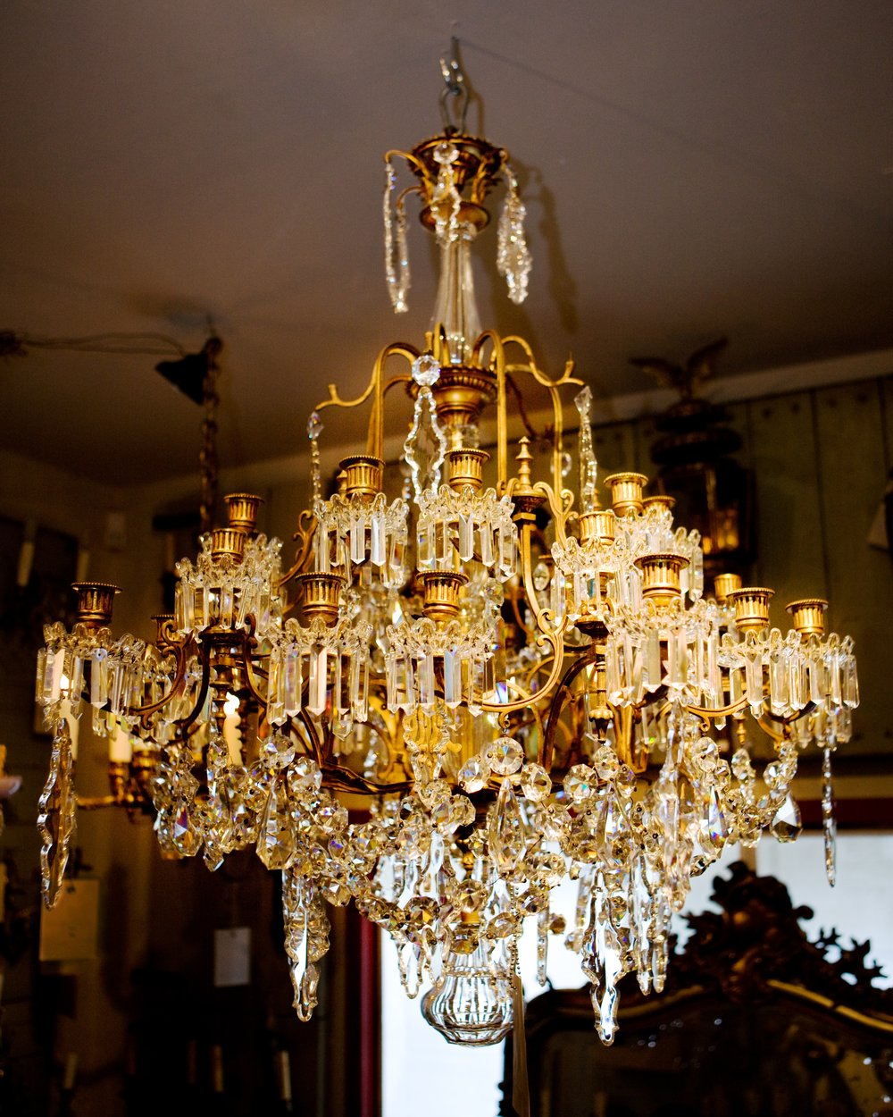 Antique Bronze and Crystal French Chandelier, Attributed to Baccarat