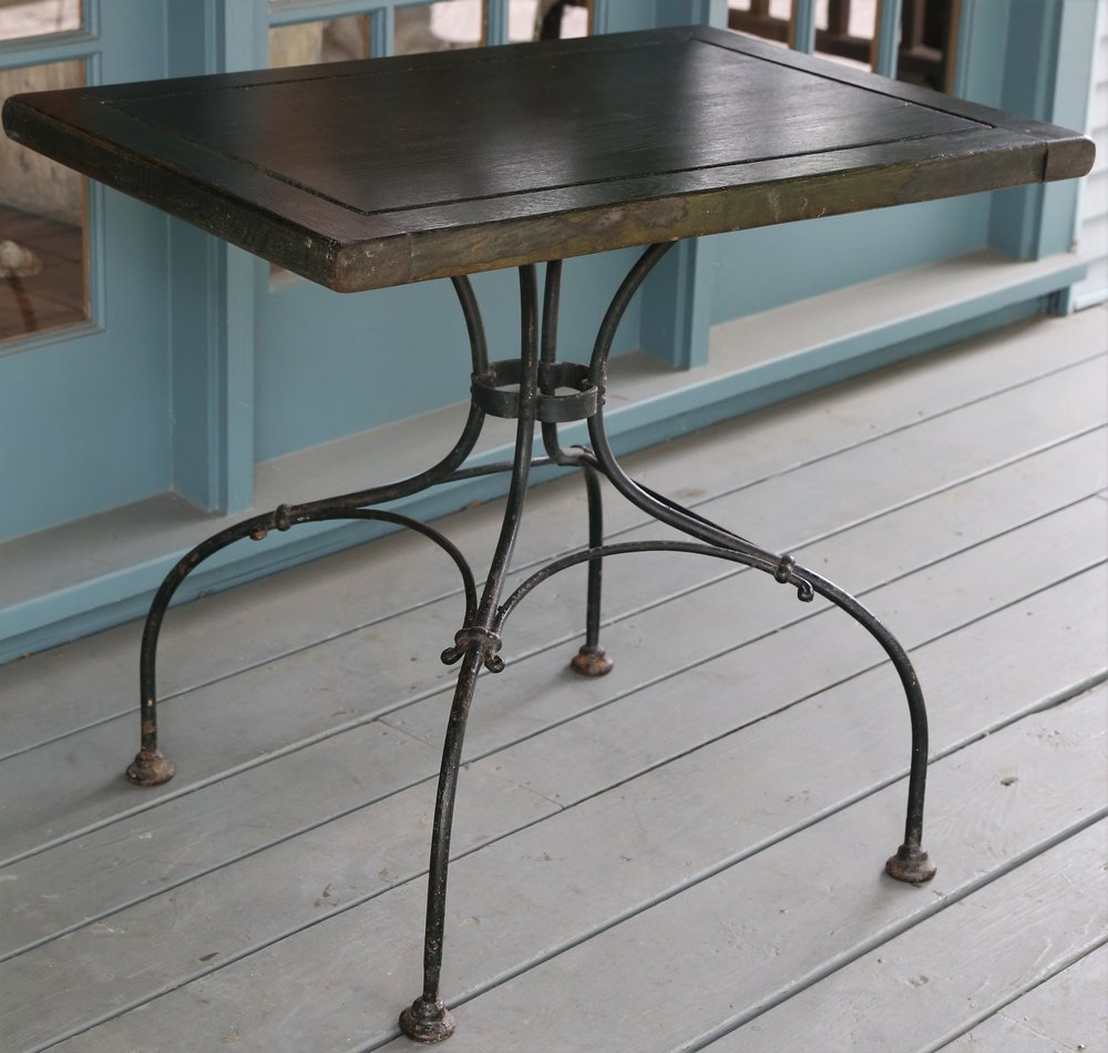 GREEN RECTANGULAR TOP TABLE WITH IRON LEGS