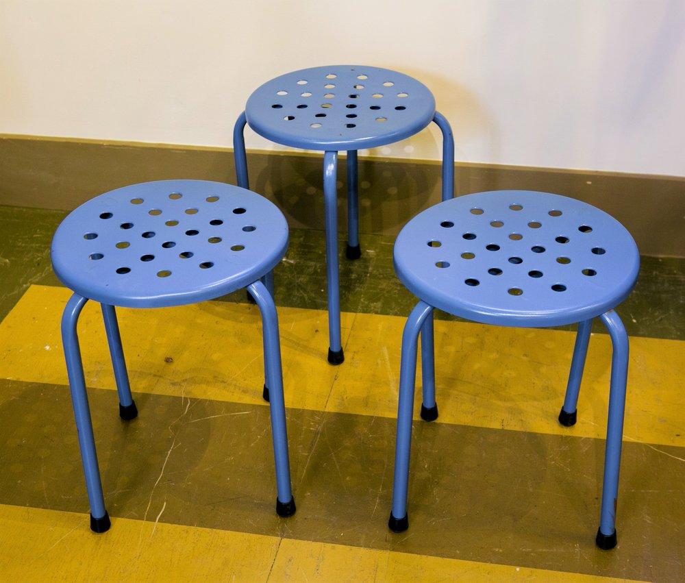 Set of Three Vintage Mid-Century Blue Perforated Blue Stools