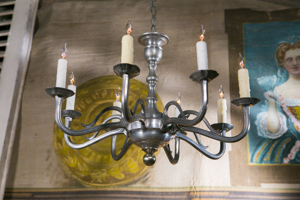 Vintage French Pewter Chandelier with Eight Arms, circa 1940