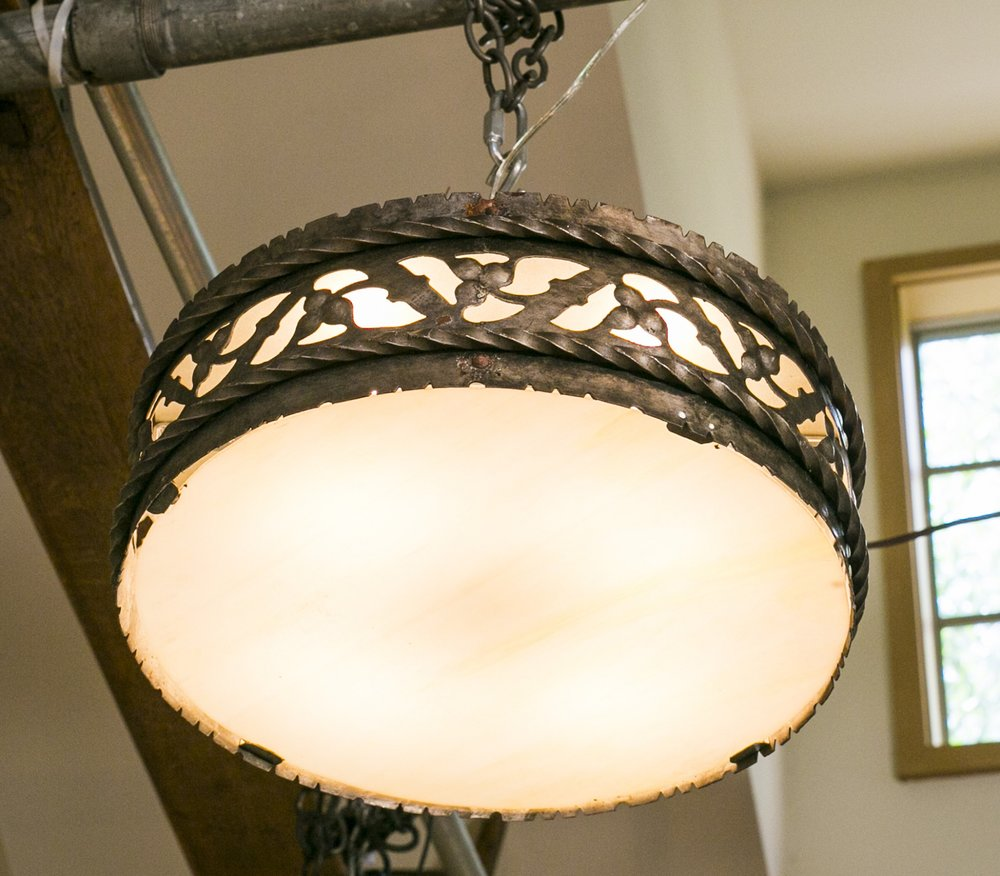 Large Iron and Art Glass Flush Mount Light from Belgium, circa 1910