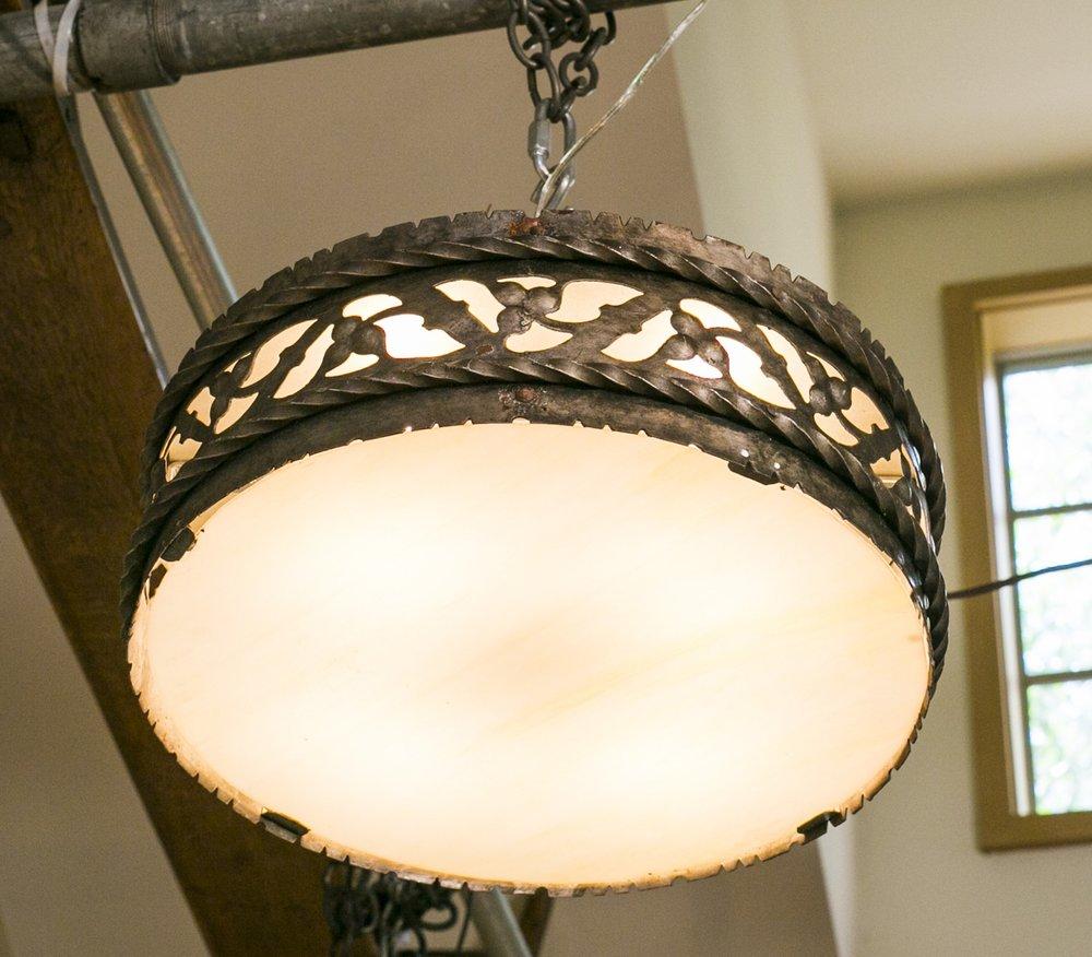 Antique Iron and Art Glass Semi Flush Lights