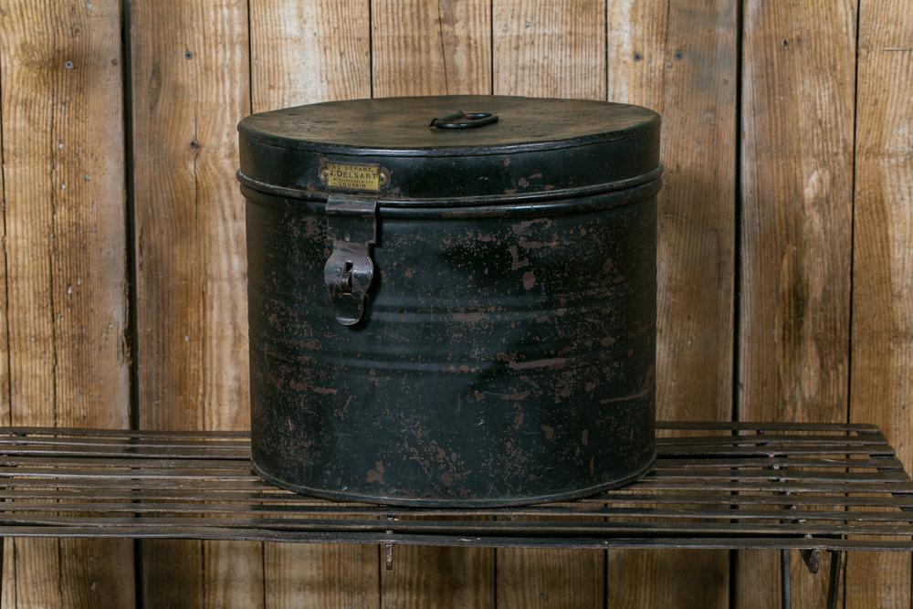 Vintage Metal Hat Box from J. Delsart, circa 1920