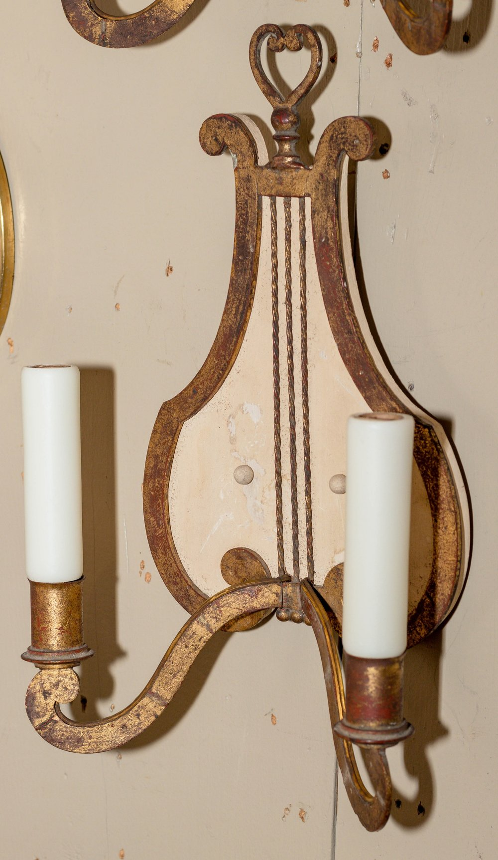 """Pair of vintage """"Harp Symbol"""" sconces from France, circa 1940's"""