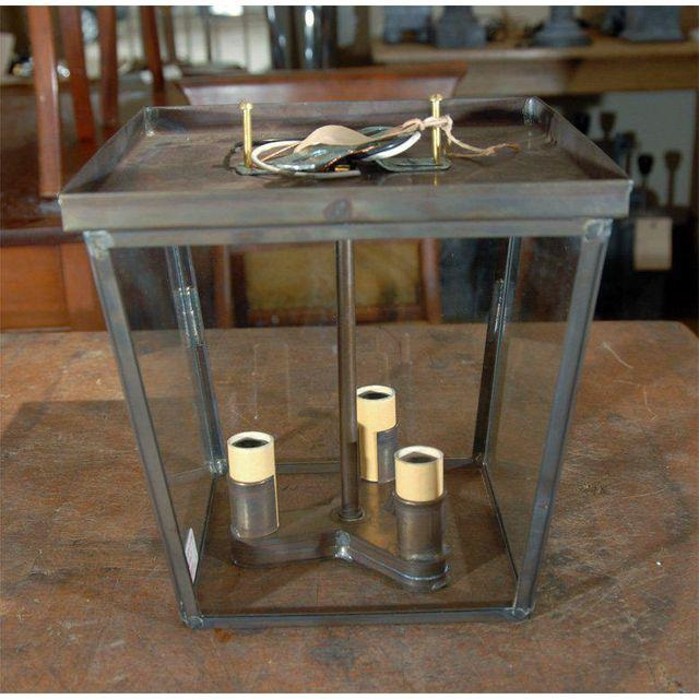 Hand-Crafted American Made Trapezoid Ceiling Mount Lantern