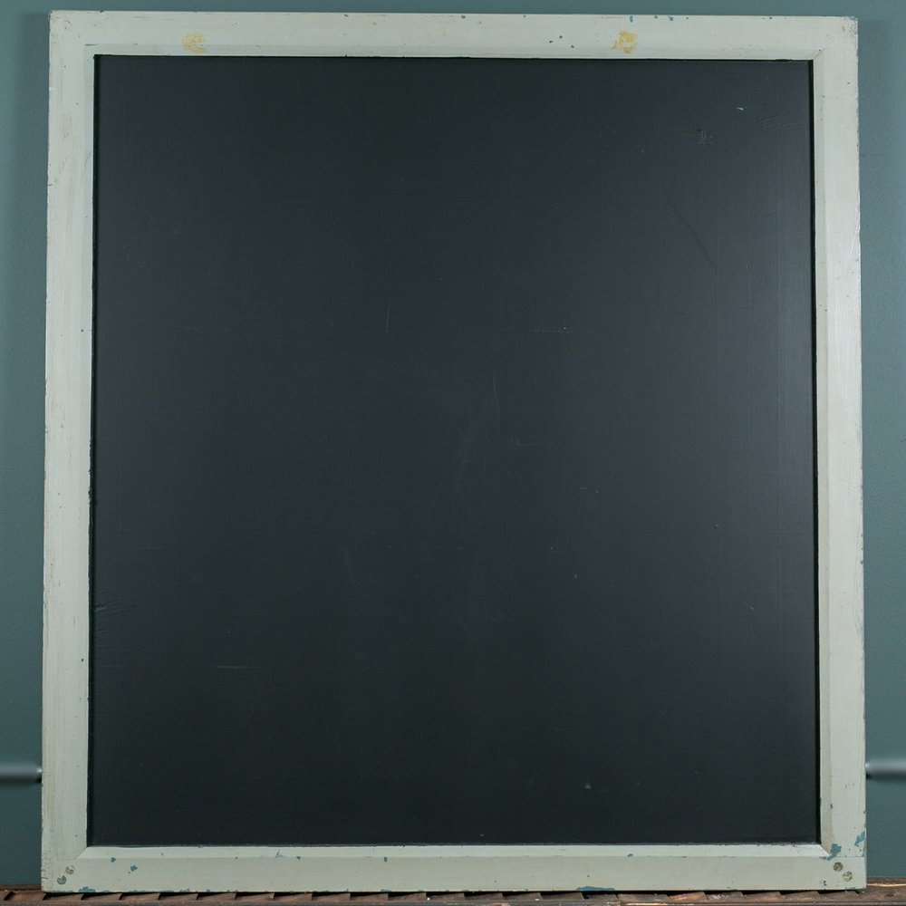 Large Vintage Slate Chalk Board with Grey Wood Frame