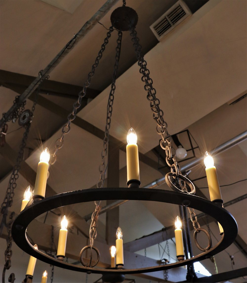 One of a kind, vintage iron ring light with eight sockets