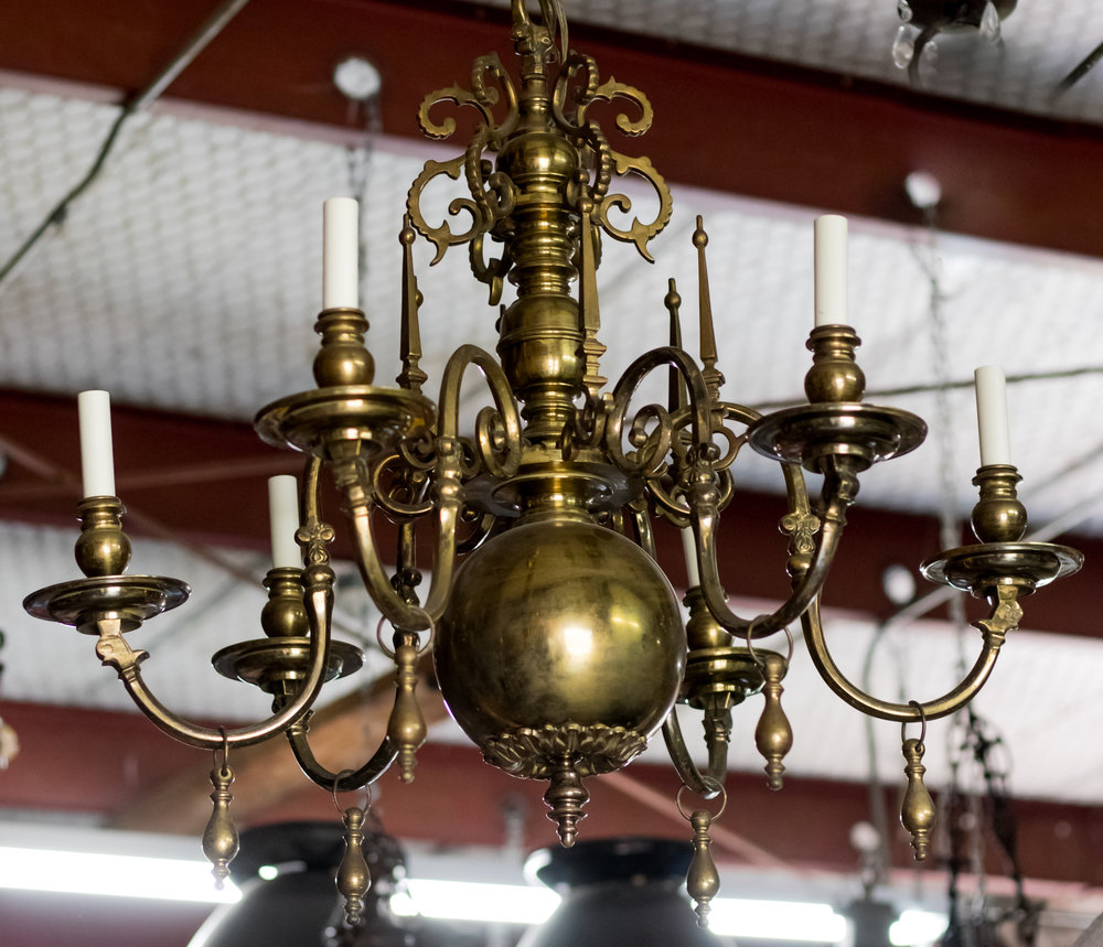 Bronze Flemish Chandelier with Drops from Belgium, circa 1910