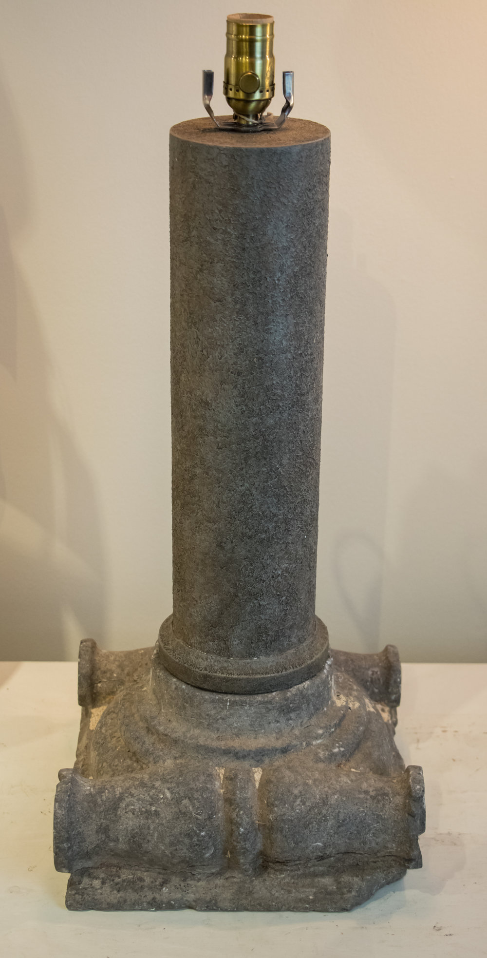 Belgian Hand-Carved Bluestone Table Lamp