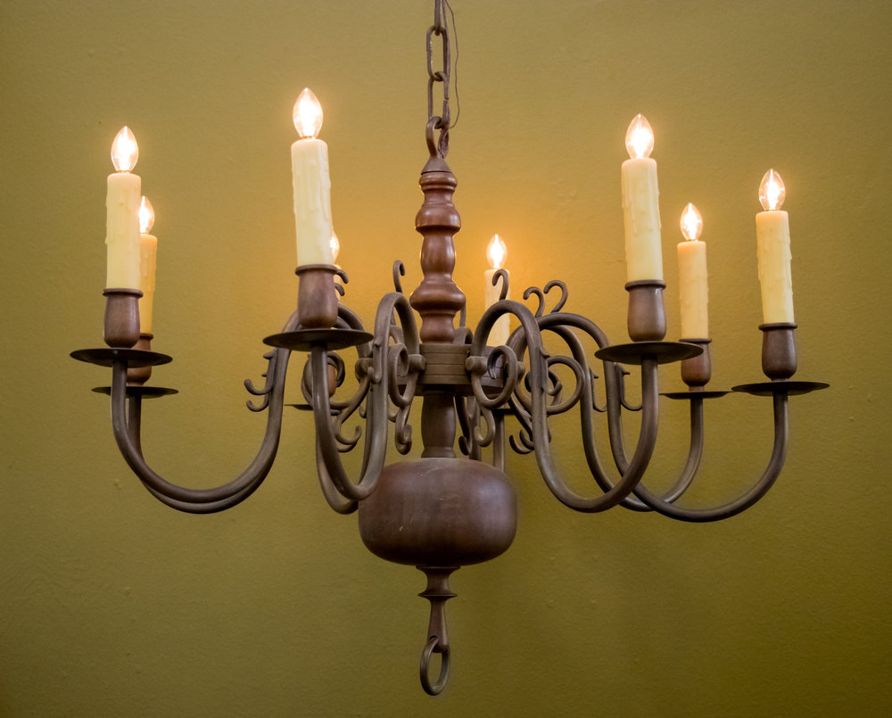 Flemish (Squashed) Sphere, Eight Arms, Bronze Chandelier, circa 1910