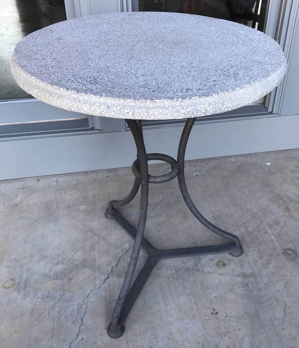 Pair of Iron and Terrazzo Bistro Tables (gueridon) From Belgium, Circa 1960