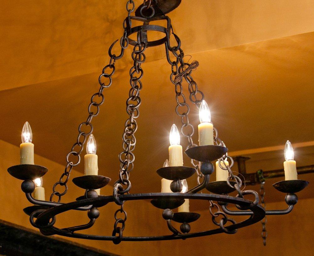 """Hand-Forged Cutom Iron """"Darke"""" Chandelier with Ten Lights"""