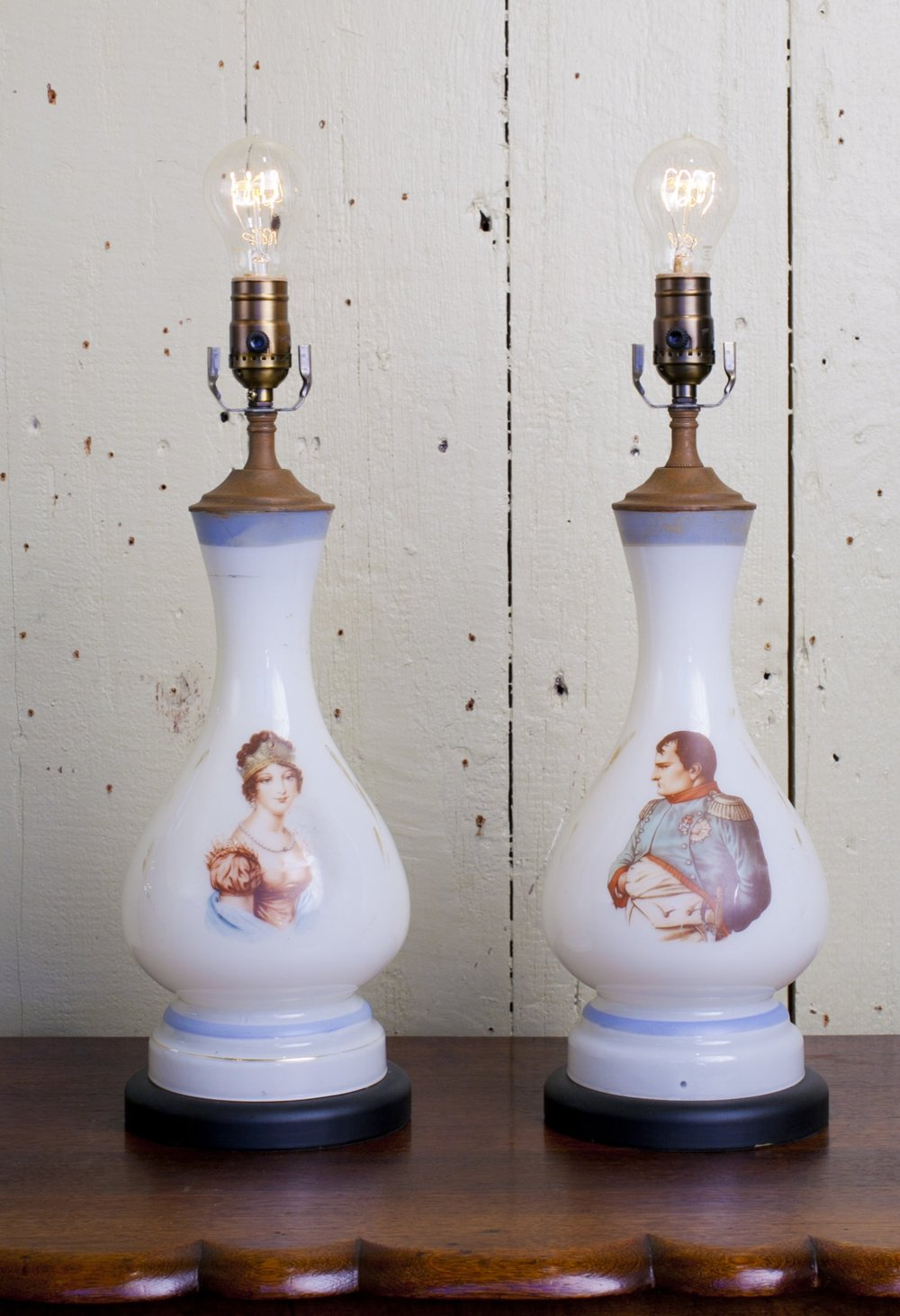 Handblown, Hand-Painted, Antique Opaline Napoleon and Josephine Table Lamps
