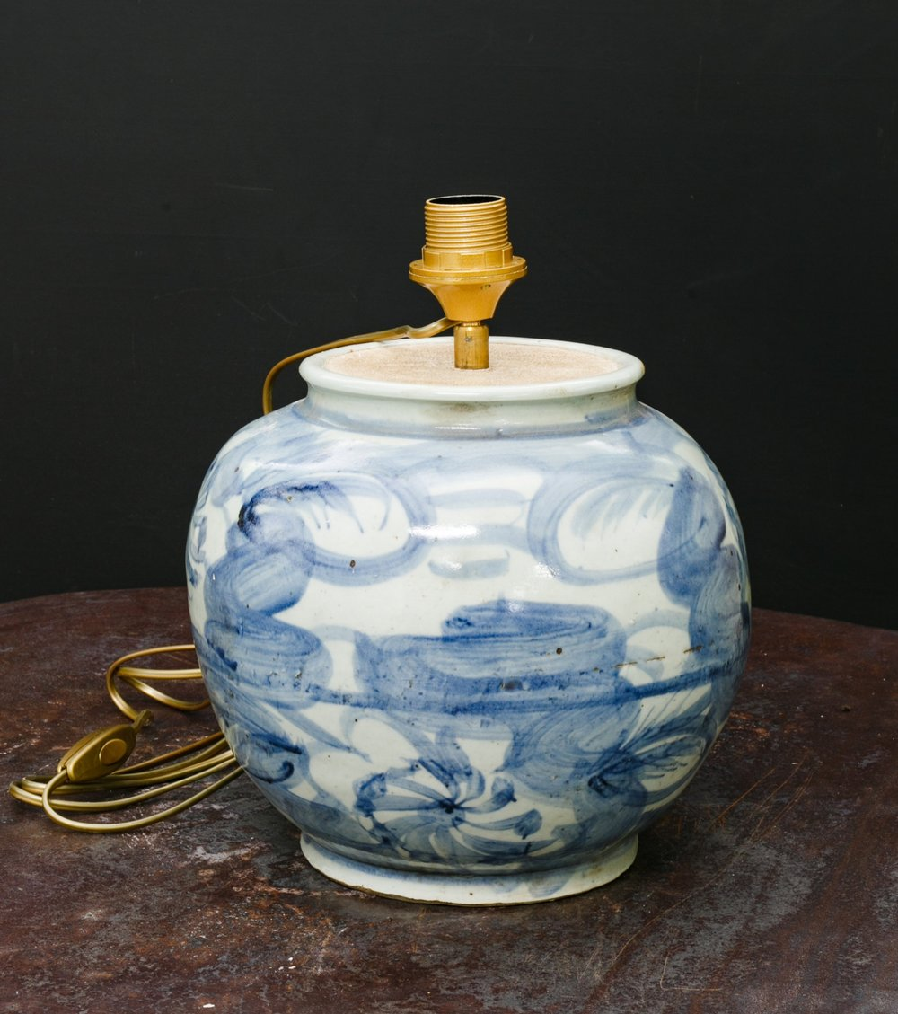 Small Blue and White Glazed Stoneware Table Lamp