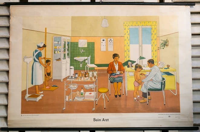 Vintage German Chart of Children Visiting the Doctor
