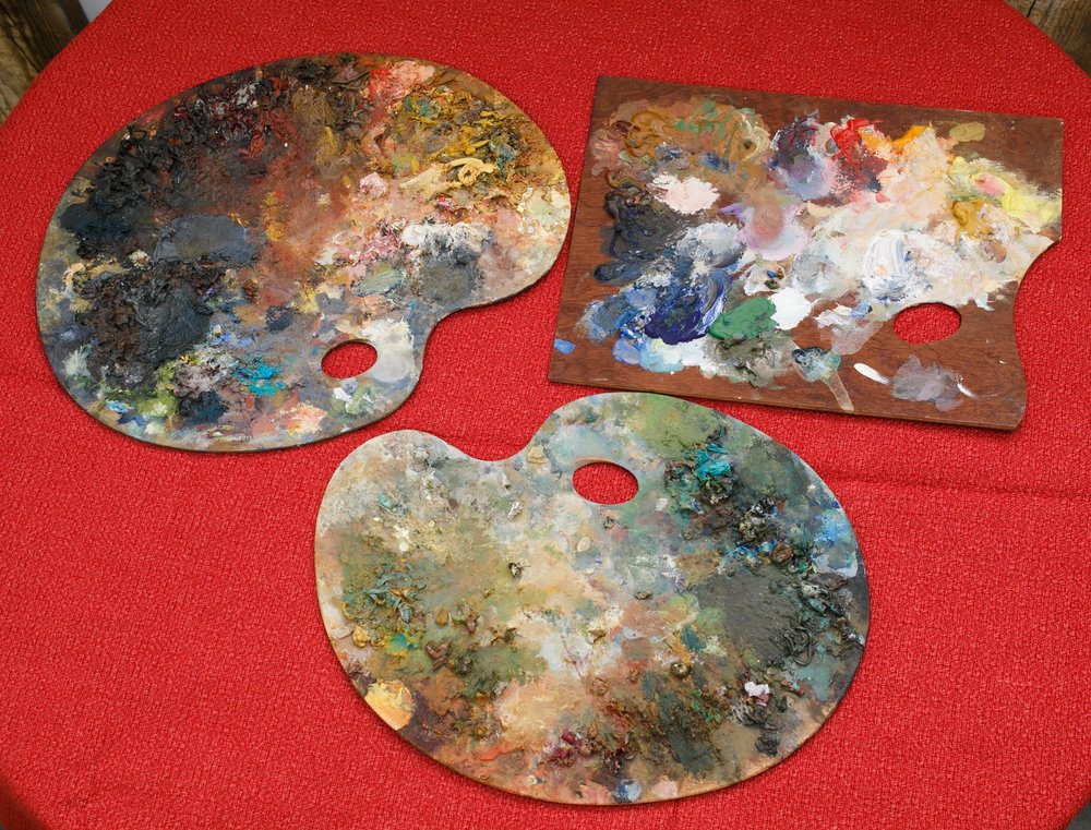 Vintage French Wooden Painter's Palettes, circa 1940