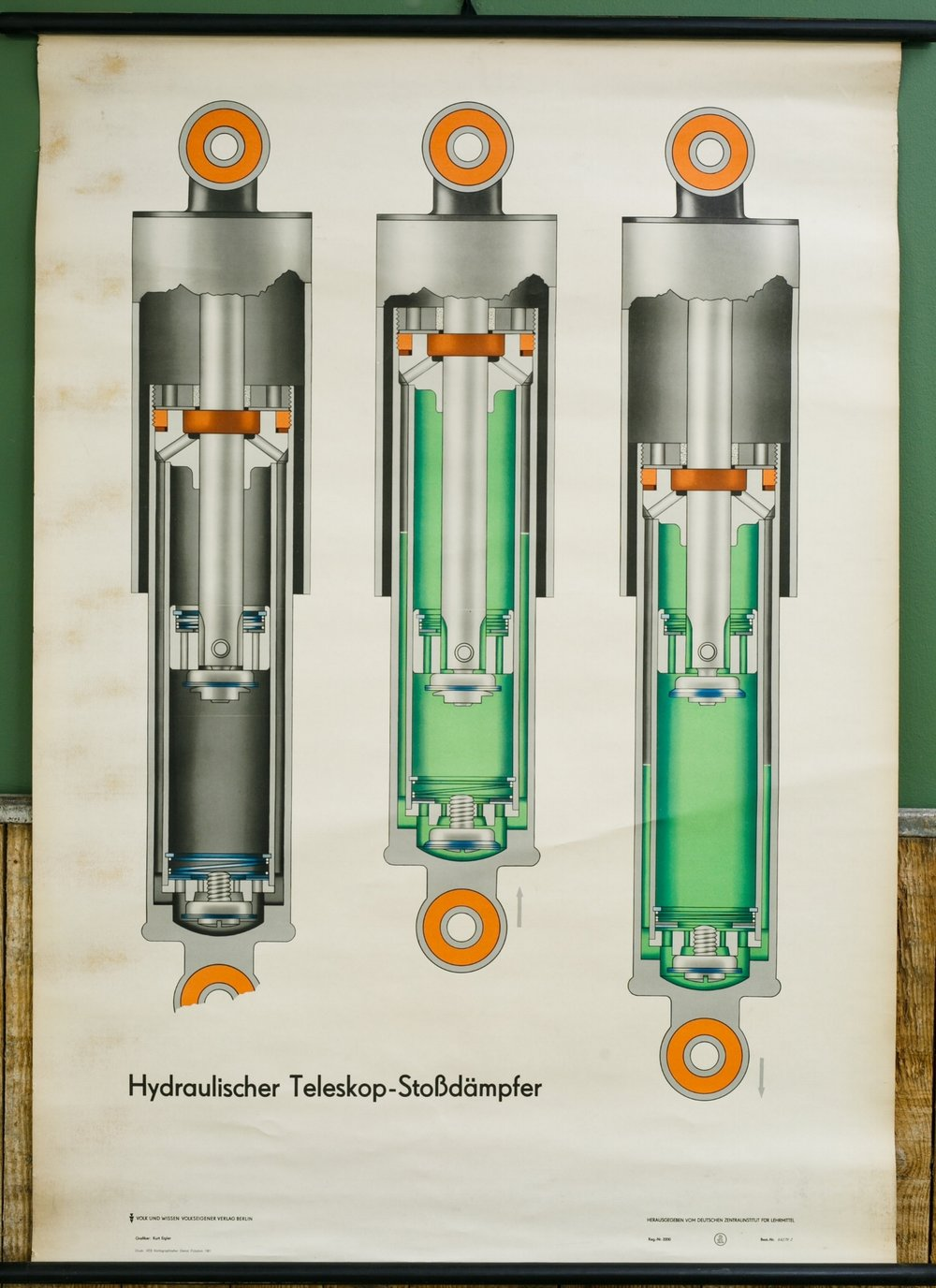 Vintage German Teaching Chart of Hydraulic Telescopic Shock Absorbers