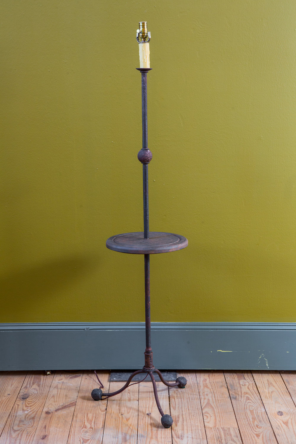 Custom Rustic Hand-Forged Iron and Wood Floor Lamp