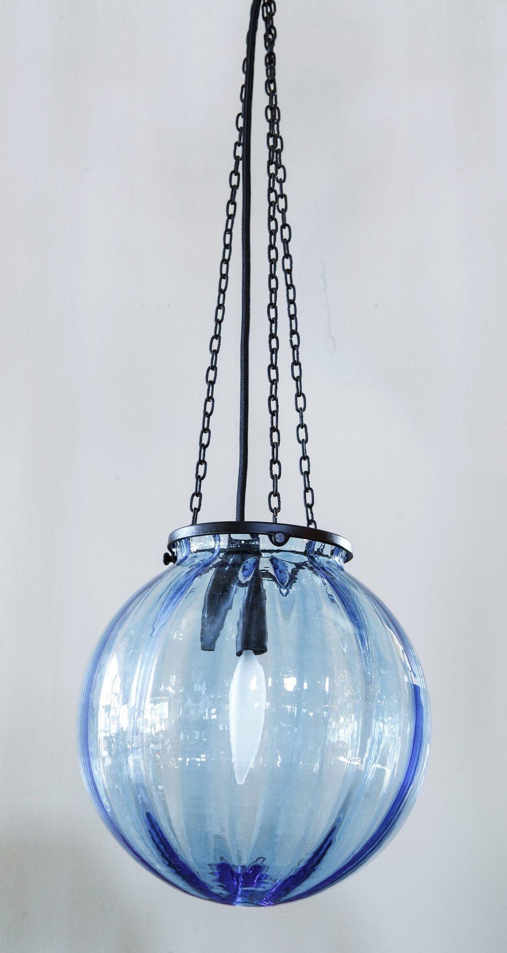 Vintage Hand-Blown Murano Glass Blue Sphere Light