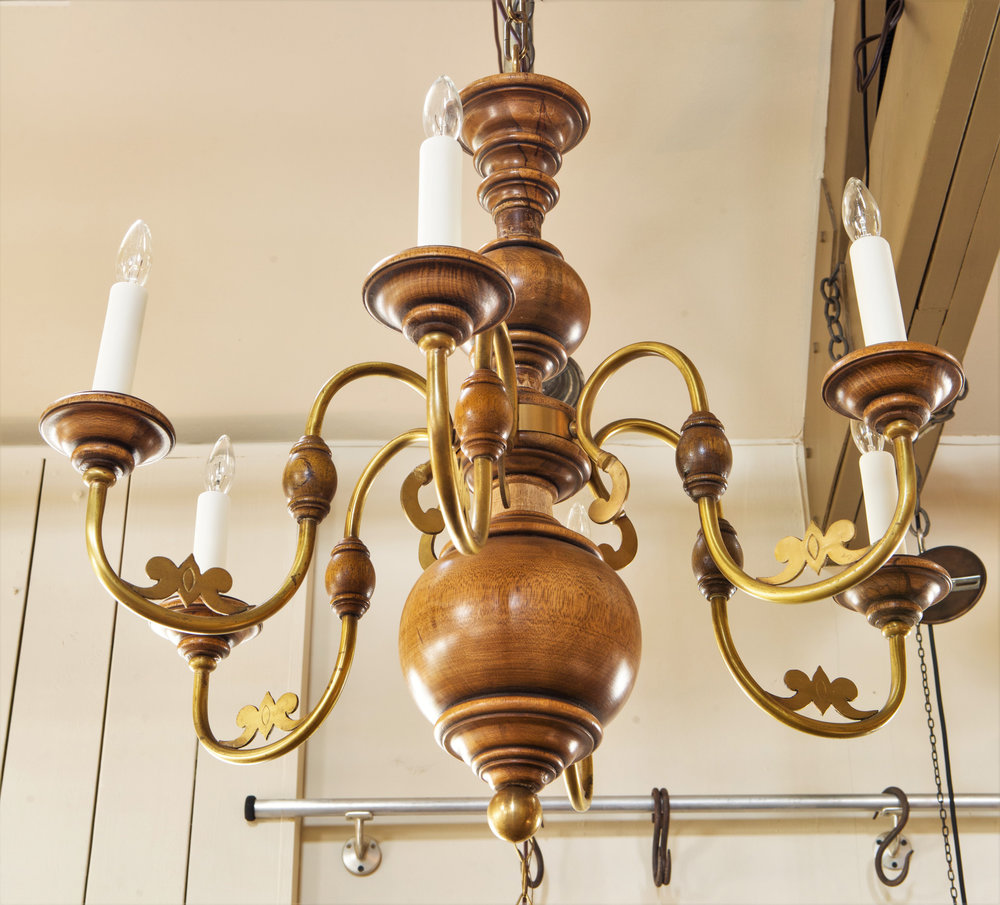 Brass and Fruitwood Italian Country Style Chandelier