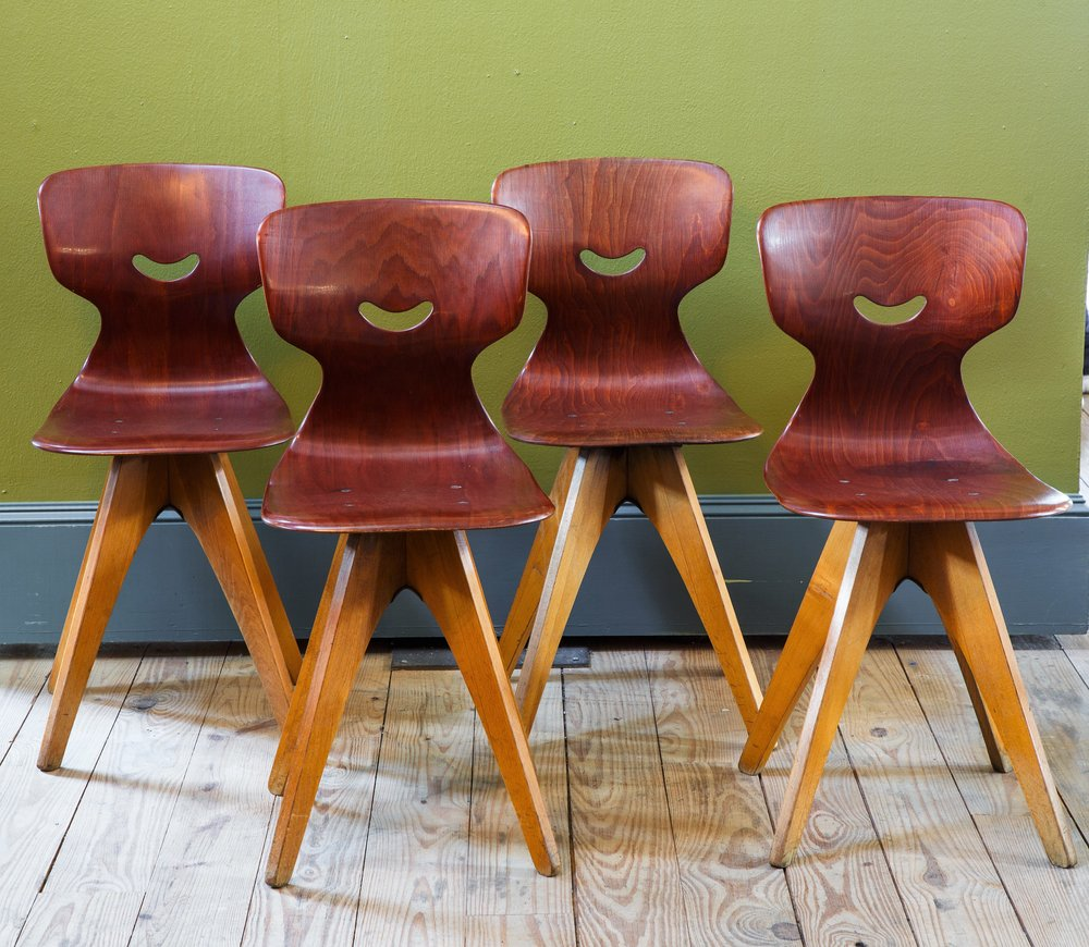 Set Four Mid Century German Chairs Designed by Adam Stegner for Pagholz
