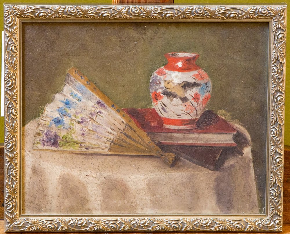 Fan and Vase Still Life Painting