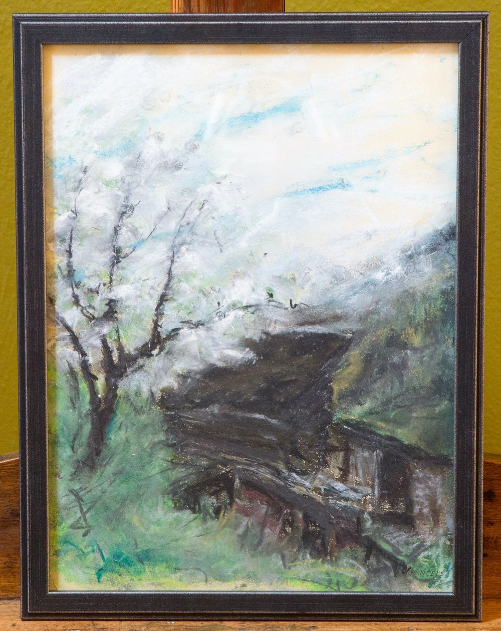 Vertical Landscape, Framed Pastel Drawing