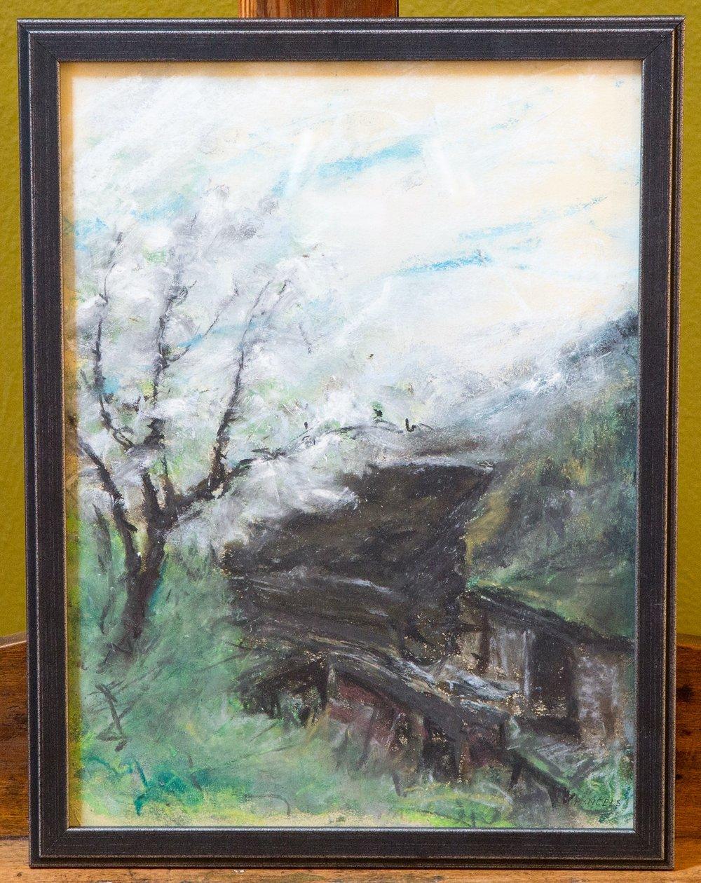 Vertical Landscape, Framed Pastel Drawing