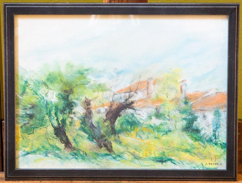 Horizontal Landscape, Framed Pastel Drawing