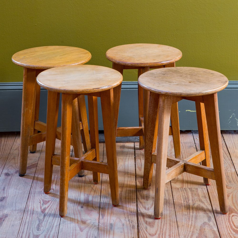 Set of Four, Mid-Century Modern Low Stools