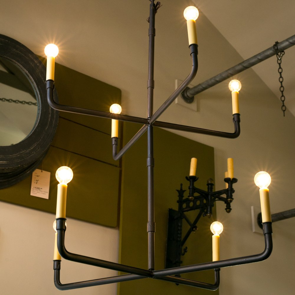 Minimalist Two-Tier Hand-Made Iron Chandelier