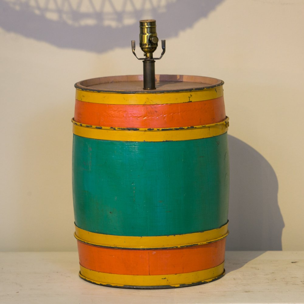 Hand-Made and Hand-Painted Carnival Barrel Table Lamp